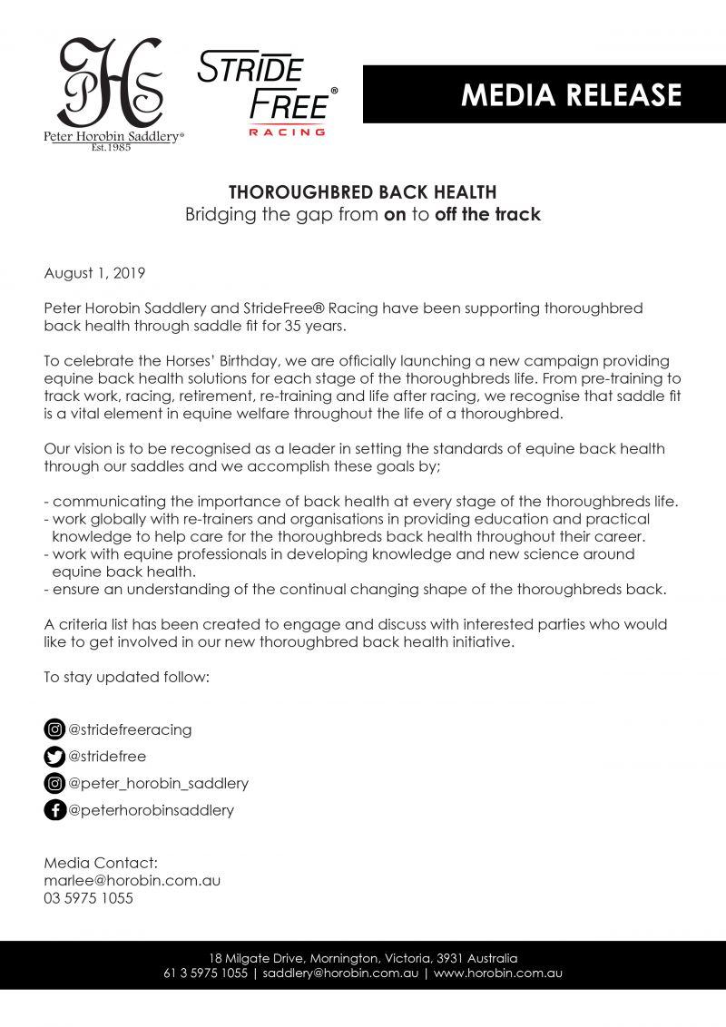 Media Release Thoroughbred Back Health
